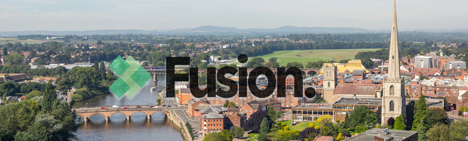 View of Worcester with fusion logo ontop
